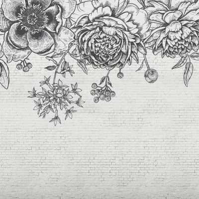 Blac Flower Brick Wall